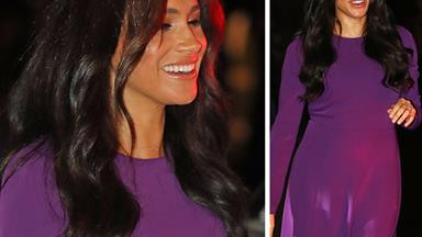 Duchess Meghan glows in purple as she steps out for the first time since her explosive interview aired