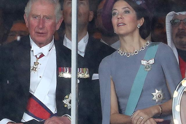 Crown Princess Mary dazzles in a chic lilac gown as she joins Prince Charles in Japan