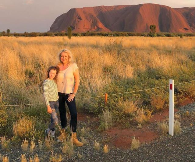 Angela Bishop shares footage from the Uluru trip she and daughter Amelia took to honour her late husband