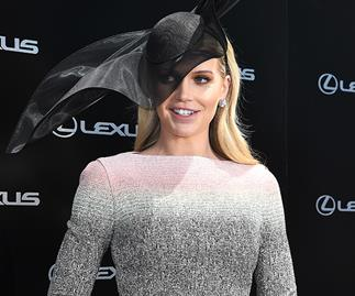 Princess Diana's niece Lady Kitty Spencer steals the show in a heavenly multi-coloured dress at Melbourne Cup