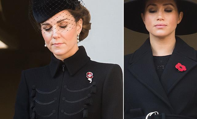 Meghan & Kate are reunited as the royals step out in solidarity on Remembrance Day