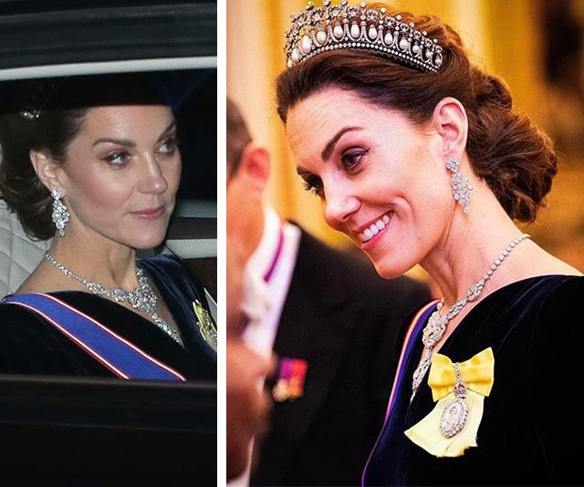 Duchess Catherine is dripping in diamonds as she arrives at Buckingham Palace wearing a rare tiara