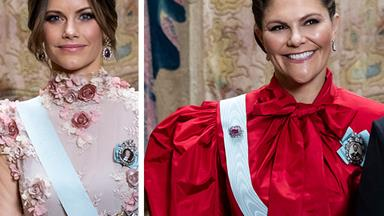 The Swedish royals make a bold fashion statement in dramatic dresses for yet another lavish event