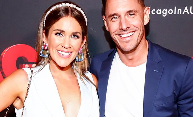 Georgia Love rocks white bike shorts on the red carpet alongside fiancé Lee Elliott