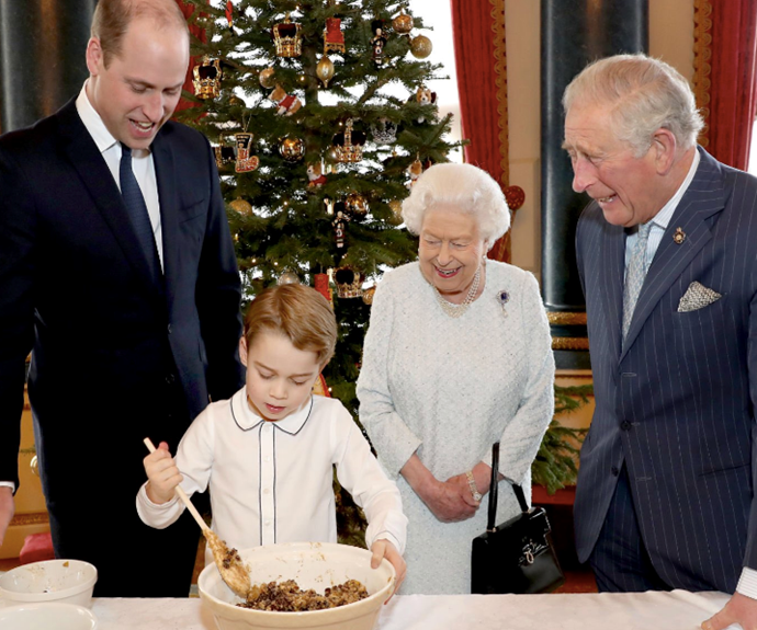 The Palace drop stunning new images of the Queen making Christmas pudding with her three heirs - right down to Prince George!