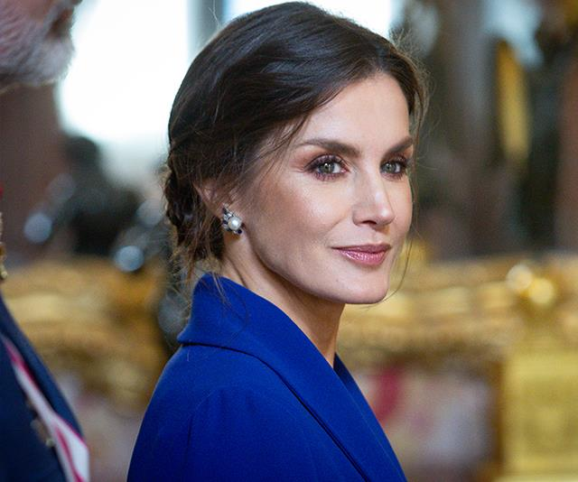 Queen Letizia makes first public appearance of 2020 in royal blue with a rather daring thigh-high split