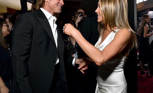 Jennifer Aniston and Brad Pitt's reunion at the SAG Awards has left the Internet reeling