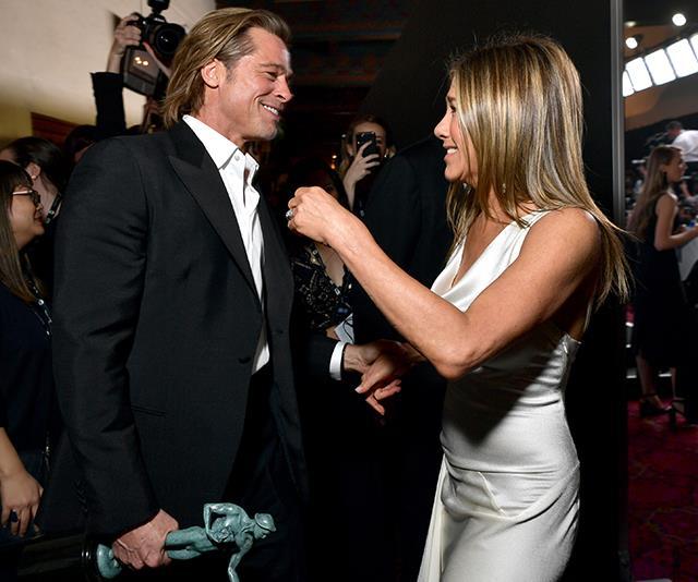 Jennifer Aniston and Brad Pitt's reunion at the SAG Awards has left the Internet reeling
