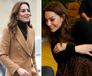 Duchess Catherine steps out in a $20 Zara animal print skirt as she continues her whirlwind tour of the UK