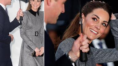Kate recycles an old favourite wool coat as she and William step out in rainy London together for Holocaust Memorial Day