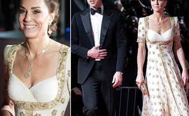 Duchess Catherine glimmers in a rare red carpet appearance, wearing a heavenly recycled Alexander McQueen gown