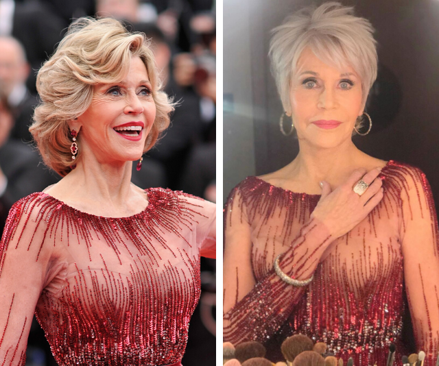 Jane Fonda debuts shorter pixie haircut and recycles six-year-old gown at the Oscars