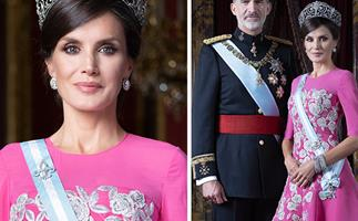 The Spanish royals (AKA the world's most glamorous royal family) pose for dazzling new portraits - and Letizia is wearing a bright pink dress!