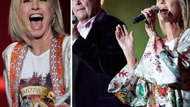 Olivia Newton-John glows as she makes an epic return to the Aussie stage alongside John Farnham