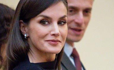 The world's most glamorous Queen, Letizia of Spain, just pulled off the ultimate little black dress - with a wintry twist!