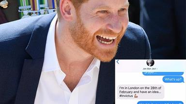Prince Harry and Bon Jovi's text messages revealed in hilarious exchange