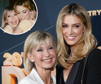 Hopelessly devoted to you! See Delta Goodrem's candid behind-the-scenes photo of Olivia Newton-John