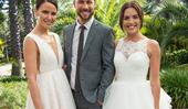Here come the brides! Neighbours' Mark has an awkward run-in with both his exes