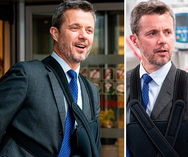 Crown Prince Frederik steps out for the first time after his skiing accident