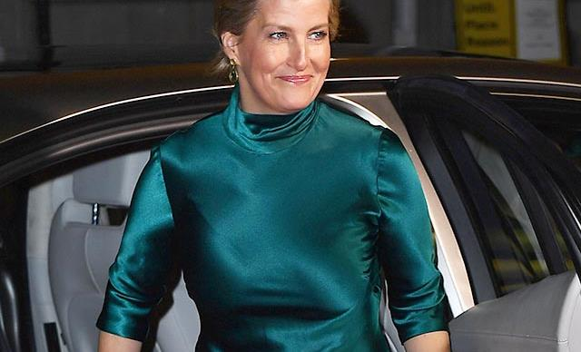 The new royal fashion influencer, Sophie of Wessex glows in a gorgeous green satin dress