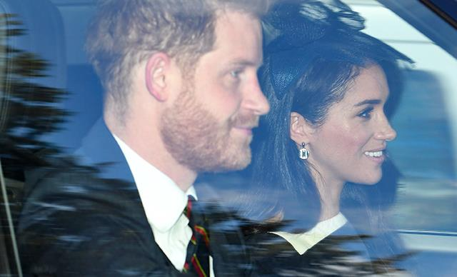Prince Harry and Duchess Meghan spotted attending church with the Queen during their final days as senior royals
