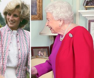 Queen Elizabeth surprises fans in a bright pink colour-blocked dress, as she channels one of Diana's most iconic looks