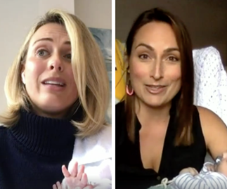 New mums Sylvia Jeffreys and Jayne Azzopardi reveal how they're coping at home in self isolation with their newborn sons