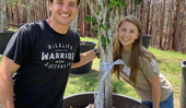 Bindi Irwin and new husband Chandler Powell reveal the wedding gift they received from Russell Crowe