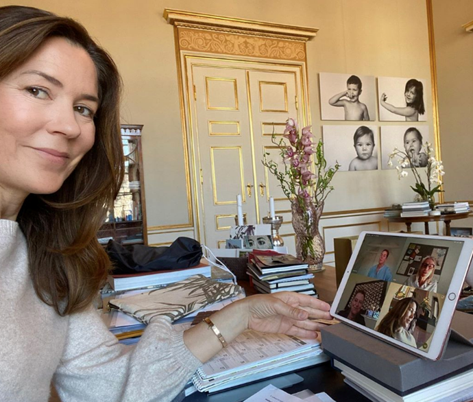 "**April 2020, Denmark**  <br><br> Mary shared this rare photo from inside the Danish Palace, revealing her working from home set up during lockdown. She was attending a virtual board meeting of her charity organisation [The Mary Foundation](https://www.nowtolove.com.au/royals/international-royals/princess-mary-working-from-home-63616|target=""_blank""), wearing a sweet neutral sweater and minimal makeup. She looks fabulous even while in isolation!"