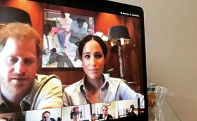 Prince Harry and Duchess Meghan make a surprise appearance in an unsuspecting Zoom chat - and it was caught on camera
