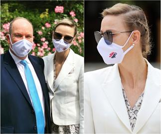 Princess Charlene of Monaco accessorises her face mask in an iconic way as she emerges from isolation