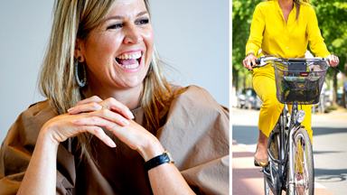 Queen Máxima of the Netherlands looks like literal sunshine as she cycles to an official royal event without her entourage