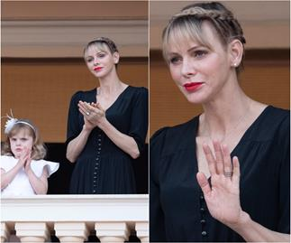 Princess Charlene makes a rare appearance with her family in one of her edgiest looks yet