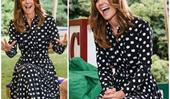 Duchess Catherine gets animated in a polka-dot dress as she teams up with the BBC for a special project