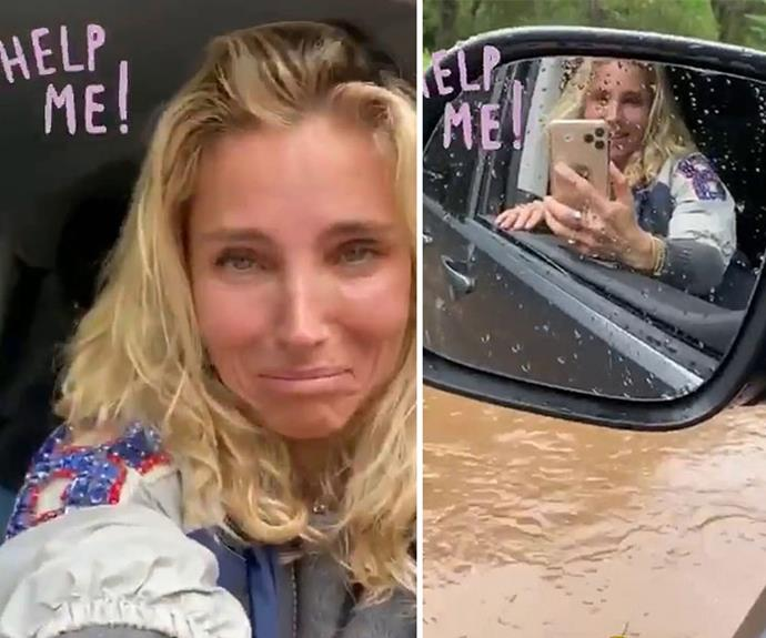 The great escape! Incredible moment Elsa Pataky flees flood waters through her car window