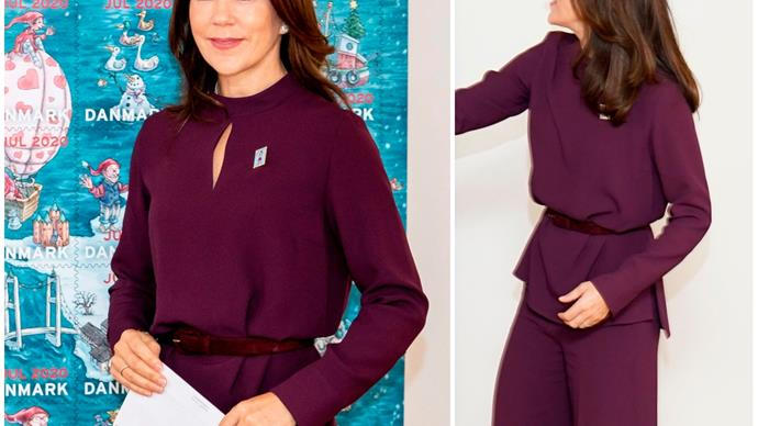 Crown Princess Mary glows in plush purple as she reveals the iconic annual Christmas stamp
