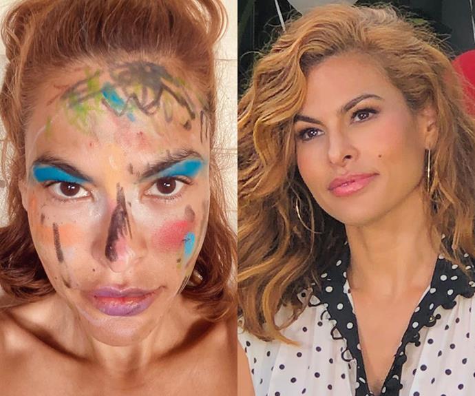 eva mendes lockdown makeup