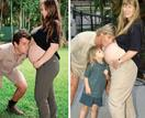 Crikey, look at those beautiful bumps! Bindi Irwin and Chandler Powell recreate Steve and Terri Irwin's iconic maternity shoot