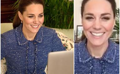 Duchess Catherine shares a personal message from her living room in a gorgeous regal blue outfit