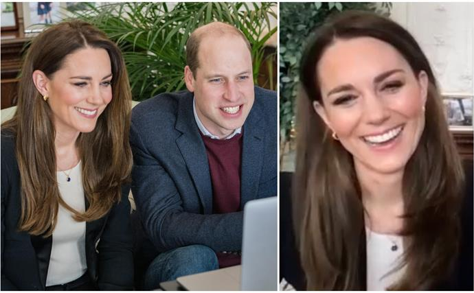 Prince William & Duchess Catherine share a lighter moment together during a rare joint appearance from inside their country home