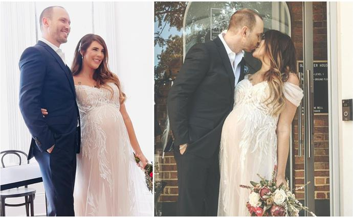 Heavily pregnant Tracey Jewel surprises fans by revealing she's MARRIED her High School sweetheart in a glamorous ceremony
