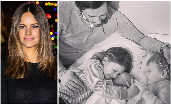 """""""Life has given me not just one but four beautiful Princes"""": Princess Sofia of Sweden shares the first photos of her new family of five"""