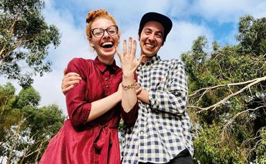 """When life gets more sparkly!"" Yellow Wiggle Emma Watkins announces her engagement to fellow bandmate Oliver Brian"