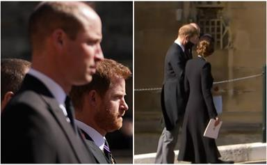 Prince Harry & Prince William share an emotional conversation with Duchess Catherine after Philip's funeral - their first reunion in over a year