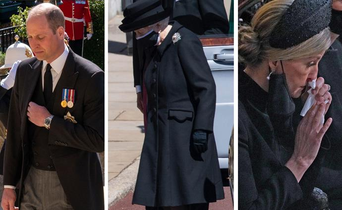 Royals crying Prince Philip funeral