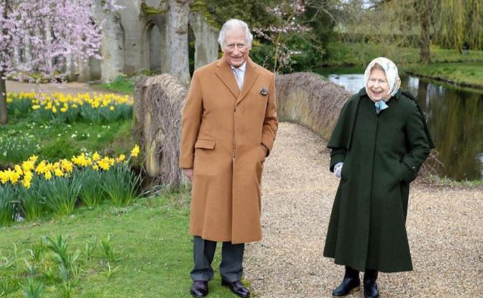 Rare new photo of The Queen and Prince Charles from right before Prince Philip's death emerges