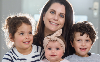 Adriana Condello pictured with her three children