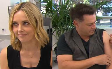 """""""Do you have any tissues?"""" Today hosts Ally Langdon and Karl Stefanovic receive their COVID vaccination on TV"""