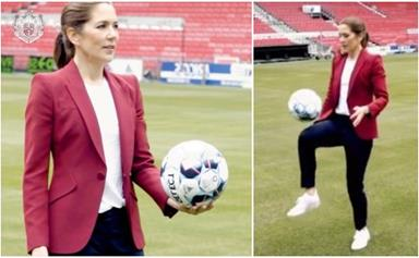 Crown Princess Mary channels Duchess Catherine's sporty wardrobe while showing off her football skills