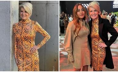 Our first lady of Aussie fashion Julie Bishop, 64, goes ultra glam in an orange leopard print dress at Fashion Week
